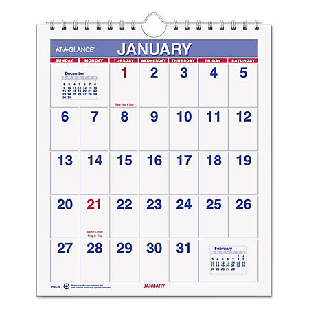 AT-A-GLANCE Mini Monthly Wall Calendar, 6 1/2 x 7 1/2, White, 2020