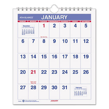 AT-A-GLANCE Mini Monthly Wall Calendar, 6 1/2
