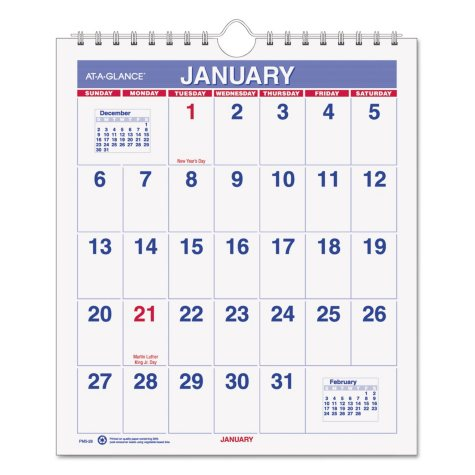 AT-A-GLANCE® Mini Monthly Wall Calendar, 6 1/2 x 7 1/2, White, 2019