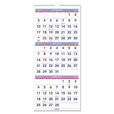 "AT-A-GLANCE Vertical-Format Three-Month Reference Wall Calendar, 12"" x 27"", 2017-2019"