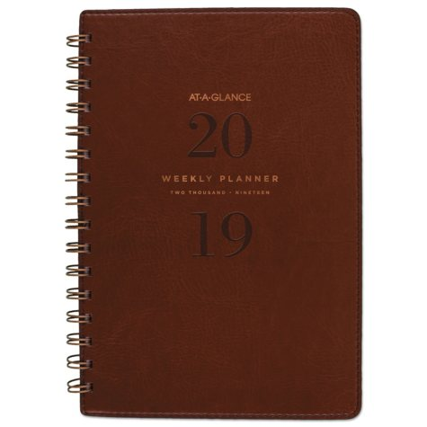 """AT-A-GLANCE Signature Collection Distressed Brown Weekly Monthly Planner, 5 3/4"""" x 8 1/2"""", 2018"""