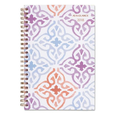 """AT-A-GLANCE Cecilia Weekly/Monthly Planner, 4 7/8"""" x 8"""", Design, 2018"""