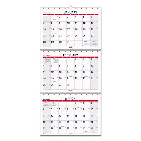 AT-A-GLANCE® Move-A-Page Three-Month Wall Calendar, 12 x 26 1/2, Move-A-Page, 2019