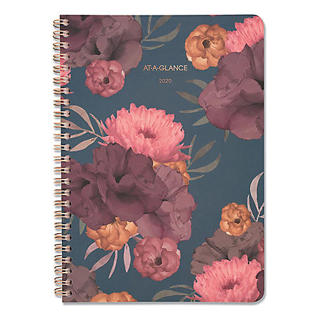 """AT-A-GLANCE Dark Romance Weekly/Monthly Planner, 8 1/2"""" x 5 1/2"""", Floral, 2020-2021"""
