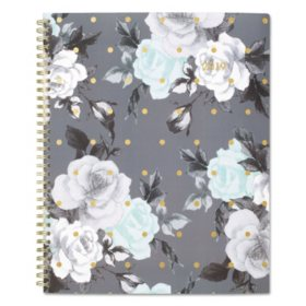 "Cambridge Tea Time Weekly/Monthly Planner, 8 1/2"" x 11"", Gold/Gray/White, 2019"