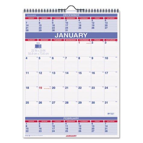 "AT-A-GLANCE Three-Month Wall Calendar, 22"" x 29"", 2018"