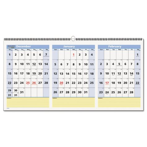"""AT-A-GLANCE QuickNotes Three-Month Wall Calendar, Horizontal Format, 23 1/2"""" x 12"""", 2017-2019"""