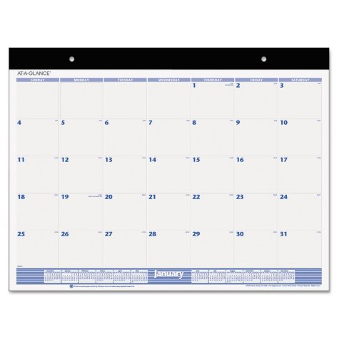 AT-A-GLANCE® Desk Pad, 22 x 17, White, 2019