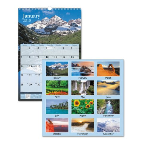 AT-A-GLANCE® Scenic Monthly Wall Calendar, 15 1/2 x 22 3/4, 2019
