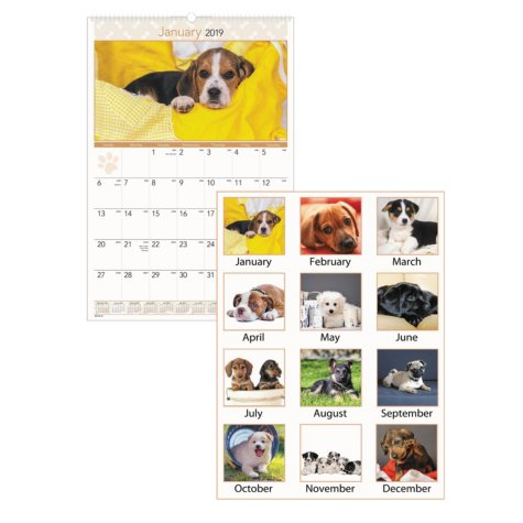 AT-A-GLANCE® Puppies Monthly Wall Calendar, 15 1/2 x 22 3/4, 2019