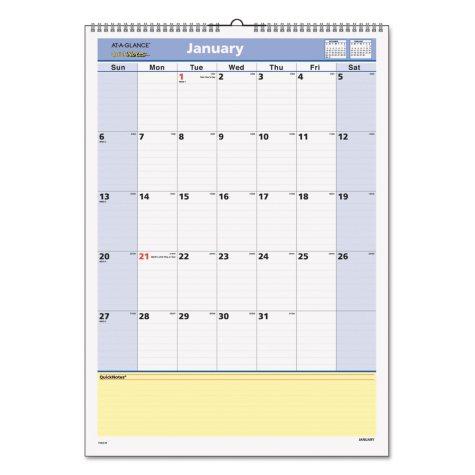AT-A-GLANCE® QuickNotes Wall Calendar, 12 x 17, 2019