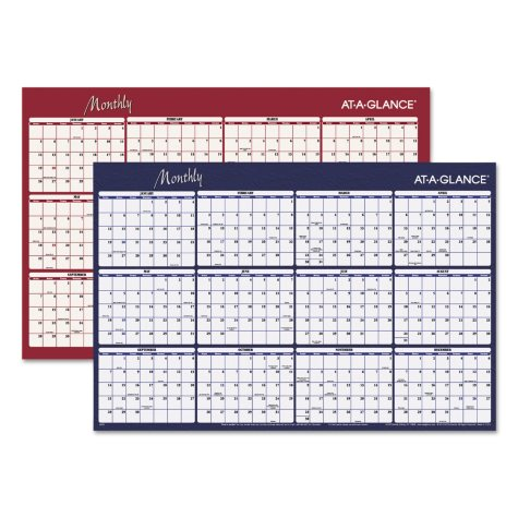 AT-A-GLANCE® Reversible Horizontal Erasable Wall Planner, 48 x 32, 2019