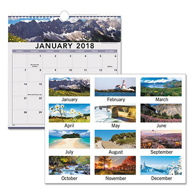 AT-A-GLANCE® Landscape Monthly Wall Calendar, 12 x 12, 2018