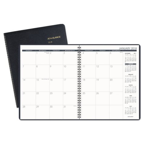 """AT-A-GLANCE Monthly Planner, 8 7/8"""" x 11"""", Navy, 2018-2019"""