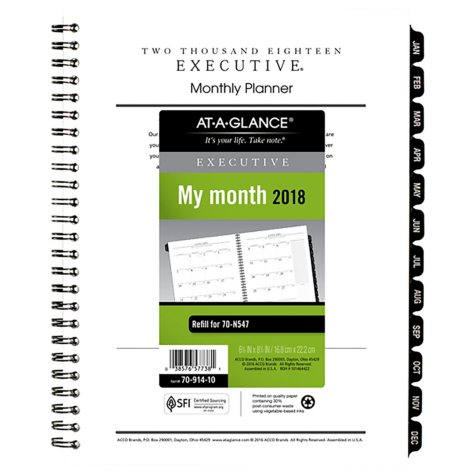 "AT-A-GLANCE Executive Monthly Planner Refill, 6 5/8"" x 8 3/4"", White, 2018"