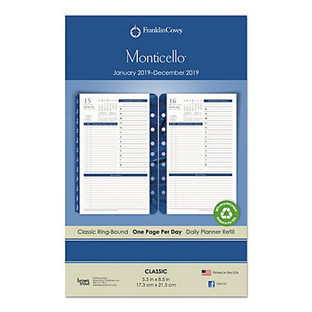 FranklinCovey® Monticello Dated One-Page-per-Day Planner Refill, 5 1/2 x 8 1/2, 2019