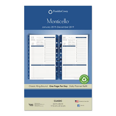 franklincovey monticello dated one page per day planner refill 5 1