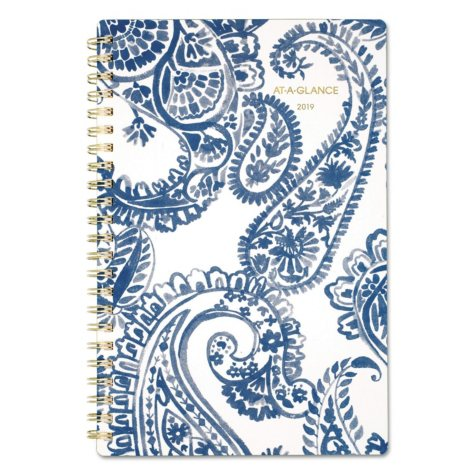"""AT-A-GLANCE Paige Weekly/Monthly Planner, 4 7/8"""" x 8"""", Navy, White, 2019"""
