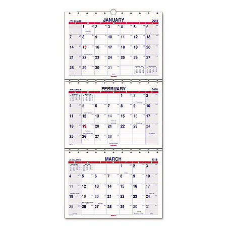 AT-A-GLANCE Move-A-Page Three-Month Wall Calendar, 12 x 26 1/2, Move-A-Page, 2020