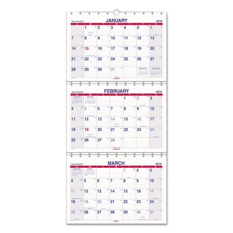 """AT-A-GLANCE Move-A-Page Three-Month Wall Calendar, 12"""" x 26 1/2"""", Move-A-Page, 2017-2019"""