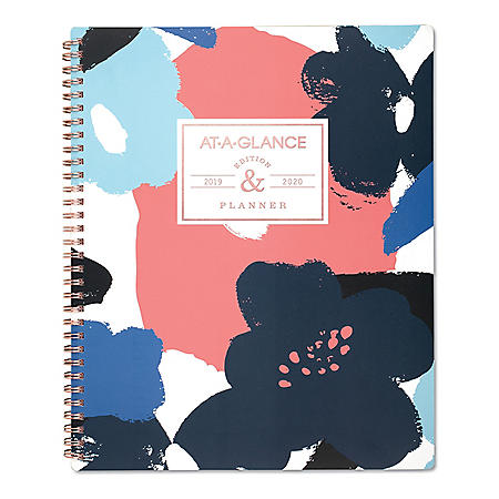 "AT-A-GLANCE Badge Floral Academic Planner, 11"" x 8 1/2"", 2019-2020"