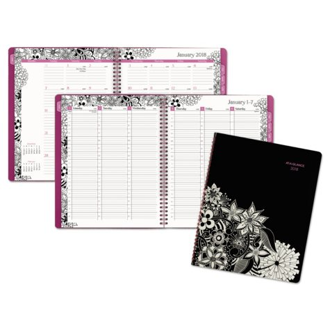AT-A-GLANCE® Floradoodle Professional Weekly/Monthly Planner, 9 3/8 x 11 3/8, 2018-2019