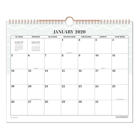 "Cambridge Workstyle Wall Calendar, 14 7/8"" x 11 7/8"", Mint, 2020"