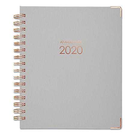 """AT-A-GLANCE Harmony Weekly/Monthly Hardcover Planner, 9"""" x 7"""", Gray, 2020-2021"""