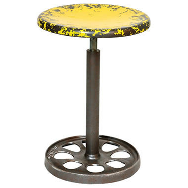 Yellow Adjustable Metal Stool