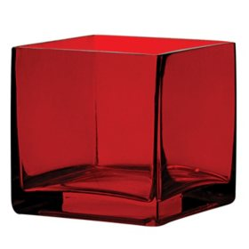 "4"" x 4"" x 4"" Square Vase - Ruby (12 ct.)"