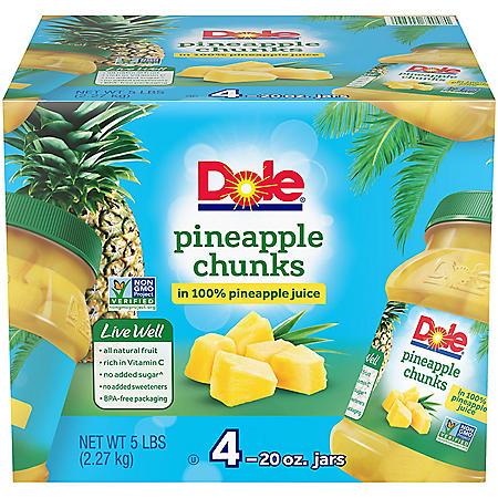 Dole Pineapple Chunks in 100% Pineapple Juice - 20 oz. - 4 ct.