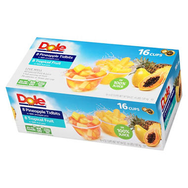 Dole Pineapple Tidbits and Tropical Fruit (4 oz., 16 ct.)