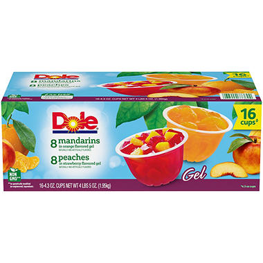 Dole Fruit in Gel Cups Variety Pack - 4.3 oz Cups - 16 pk.