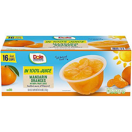 Dole Mandarin Oranges in 100% Fruit Juice (4 oz., 16 ct.)