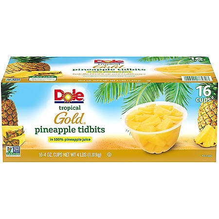 Dole Tropical Gold Pineapple in 100% Pineapple Juice (4 oz., 16 pk.)
