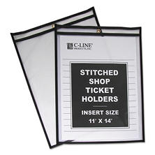 C-Line Plastic Shop Ticket Holders, Stitched, Clear, 25ct., Select Size