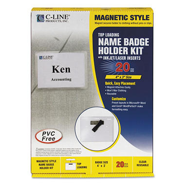 C-Line - Magnetic Name Badge Holder Kit, Horizontal, 4