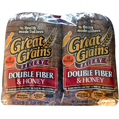 Great Grains Double Fiber & Honey Bread (24 oz., 2 pk.)