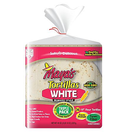 "Maya's Flour Tortilla ,10"" Burrito Style (36 ct., 90 oz.)"