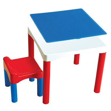 Block Builders 2-in-1 Construction Table and Stool