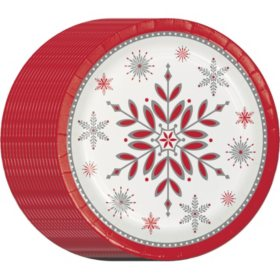 Member S Mark Holiday Snowflake 10 Paper Plates