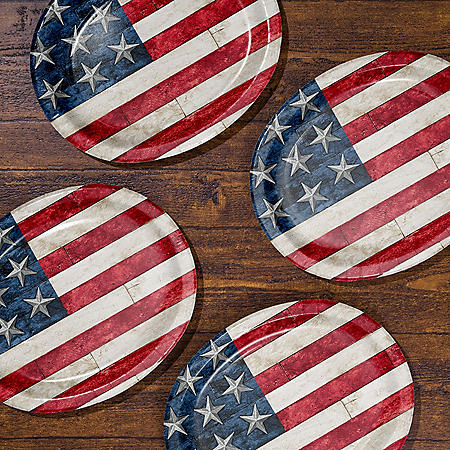 Member's Mark Rustic American Flag Oval Paper Plates - 55 ct.