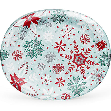 Member's Mark Glittered Snowfall Oval Paper Plates (55 ct.)