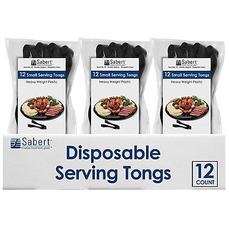 Sabert Disposable Serving Tongs (Black, 12ct.)