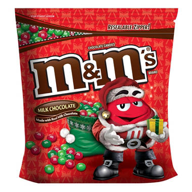 M&M's Milk Chocolate Candies, Red and Green (chose of peanut or plain, 56 oz.)