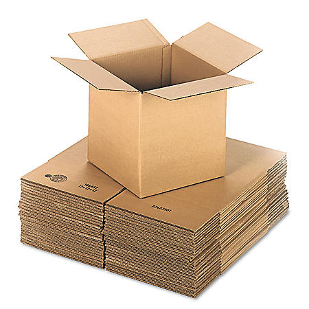 "General Supply Brown Corrugated - Cubed Fixed-Depth Shipping Boxes, 12"" L x 12"" W x 12"" H, 25/Bundle"