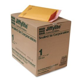 Sealed Air - Jiffylite Self-Seal Mailer, Side Seam, #1, 7 1/4 x 12, Golden Brown, 100 per Carton