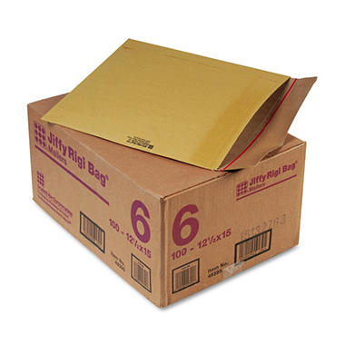 Sealed Air - Jiffy Rigi Bag Mailer, Side Seam, #6, 12 1/2 x 15, Golden Brown, 100 per Pack