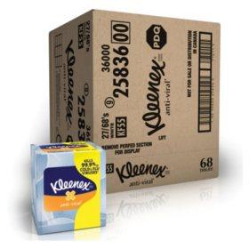 Kleenex Anti-Viral 3-Ply Facial Tissue (68 sheets/box, 27 boxes/carton)