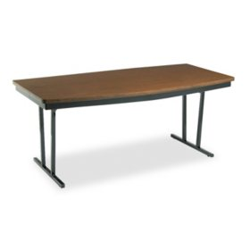 Barricks Economy Conference Folding Boat Table, Walnut/Black (Select Size)